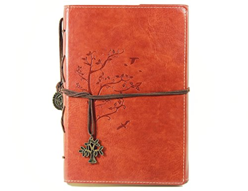 Valery Classic PU Leather Notebook Retro Vintage Diary & Journal Medium Size for Men/women Daily Use Gift -Blank & Lined Refillable Loose Leaf Pages- Mediterranean & Middle Ages Style Tree Design-brown