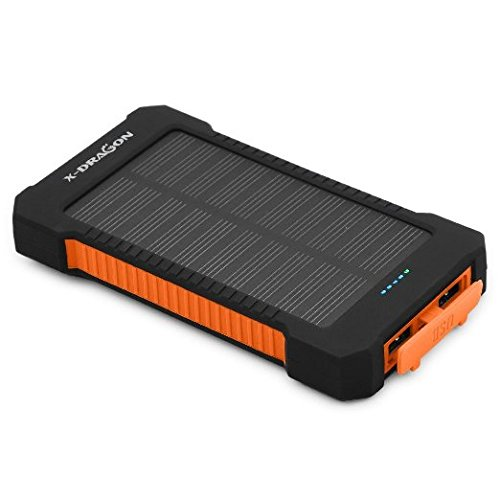 X-DRAGON 10000mAh Portable Solar Charger Power Bank for iPhone, iPad, Android Phones and Tablets, Gopro Camera and Other 5V USB devices-Orange Gear And Gadgets X-DRAGON