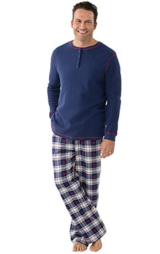 (PajamaGram Pajamas for Men Plaid - Thermal Top Men Pajamas Set, Blue, LG)