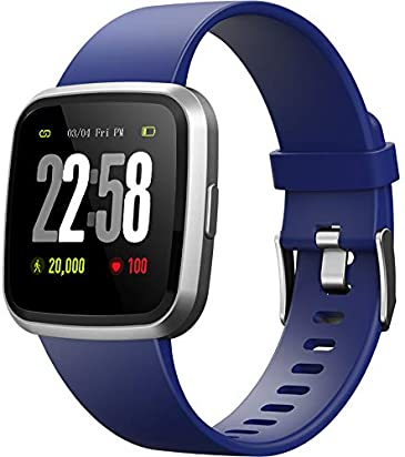 2019 version H4 Fitness Health 2in1 Smart Watch for Men Women Smartwatch with All-day Heart Rate Blood Pressure Monitor Sports Running Bracelet Activity Tracker Compare for Android & iOS phone (Blue)
