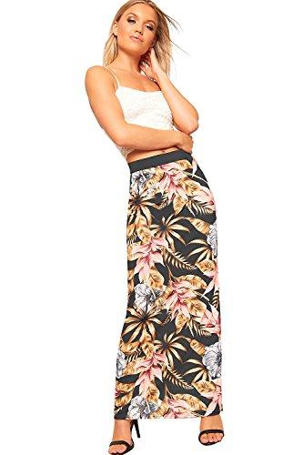 WearAll Femmes lastique tendue Floral Imprimer Maxi Jupe Dames Longue Plein Longueur - 36-42 Brun