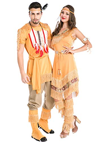 Couples Halloween Cosplay Costume,Native American Indian National Couples Costume (Women)
