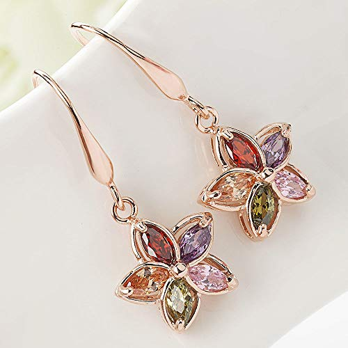 Trendy Piercing Flower Crystal Women Jewelry Gold Plated Drop Earrings ()