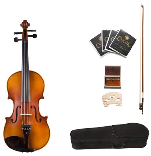 Cecilio CVA-500 16.5-Inch Ebony Fitted Solid Wood Viola Cecilio Musical Instruments 16.5
