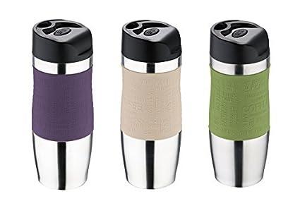 Bergner Vaso térmico Acero Inoxidable/Plástico – 400 ml – Termo – – Taza, Morado/Verde/Beige
