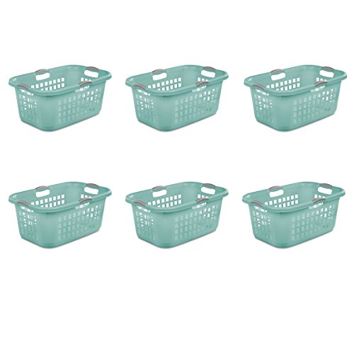 Sterilite 12167906, 2 Bushel 71 L Ultra Laundry Basket, Aqua Chrome with Titanium Handles, 6 Pack ()