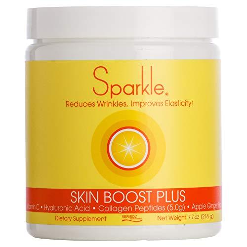 Sparkle Skin Boost Plus (Apple Ginger) Verisol Collagen Peptides Protein Powder Vitamin C Supplement Drink, 7.7oz