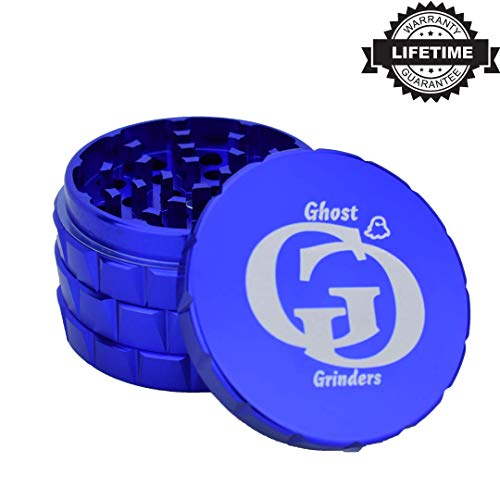 Ghost Grinder [5 Piece] Spice Herb Grinder with Pollen Catcher, 2.5 Inch (Blue) ()