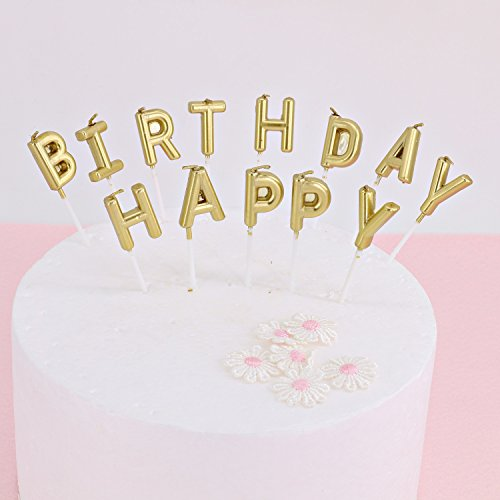 Delicate Beurio Birthday Letter Cake Candles Gold