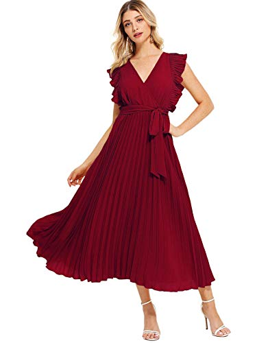 (Milumia Women Ruffle Trim Wrap V Neck High Waist Fit and Flare Belted Pleated Maxi Dress Red )