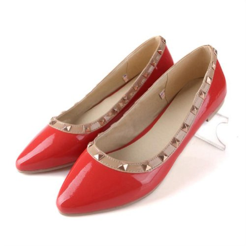 Charm Foot New Rivet Womens Pump Flat Pointed Shoes Multicolor (9.5, Red)