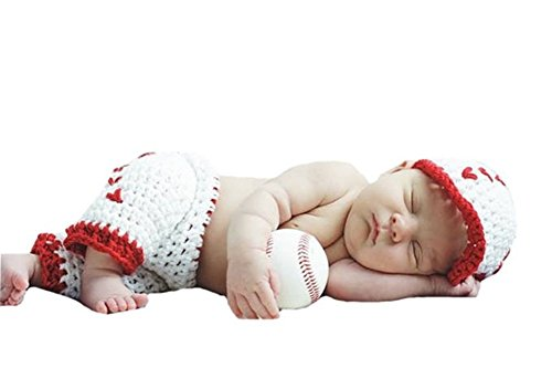 Pinbo Newborn Baby Boys Photography Prop Crochet Baseball Hat Shorts,White with red,One Size by Pinbo