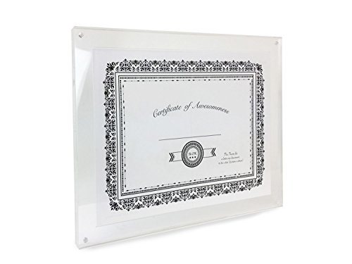 Isaac Jacobs Wall Mountable Acrylic Picture Frame (Horizontal and Vertical) (8.5x11 Document Size for Certificates and Diplomas)