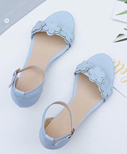 Aisun Women's Elegant Buckled Mid Block Heels Sandals With Flower Blue 0mDhkp50