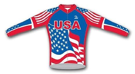 Amazon.com   Suarez USA Flag Patriotic Cycling Jersey Men s Long ... 499bd863b