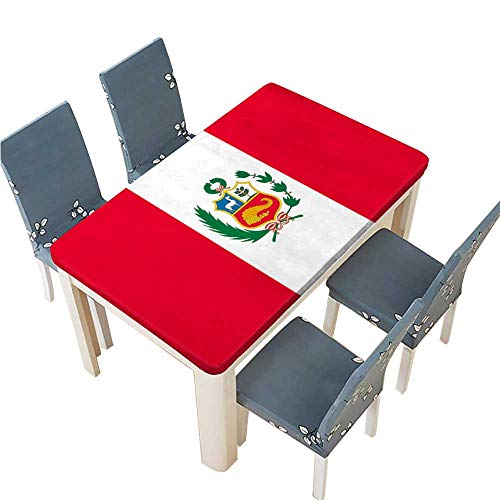 PINAFORE Polyester Cloth Fabric Cover Flag of Peru Vector Image Decorative Tablecloths for Kitchen Room W57 x L96.5 INCH (Elastic Edge)