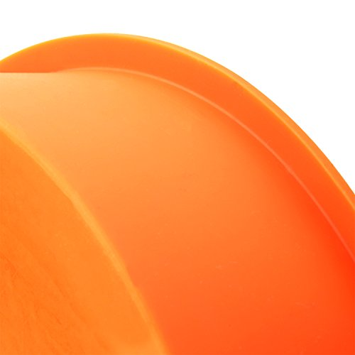 "3 Piece Round Silicone 7 ¼ Inch Cake Mold Baking Pan Set, Includes 5 Laminated Greaseproof Cardboard Cake Circles by A Baker and Cook (7.25"" x 1.5"", Orange)"