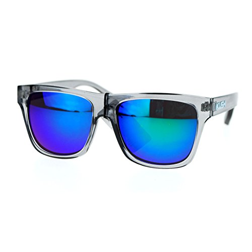 Kush Translucent Slate Gray Frame Teal mirrored Lens Hipster horned - Teal Sunglasses Wayfarer