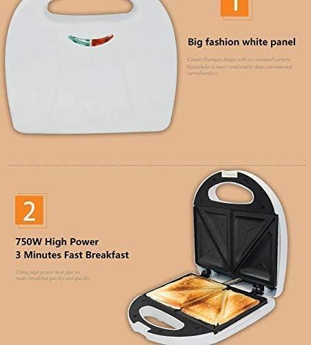 TEHWDE Machine à déjeuner Portable, Appareil ménager Triangle Sandwich Maker, Grille-Pain Chauffage Rapide, revêtement antiadhésif pour crêpes Individuelles 750W