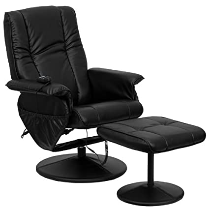 Superior Flash Furniture Massaging Black Leather Recliner And Ottoman With Leather  Wrapped Base