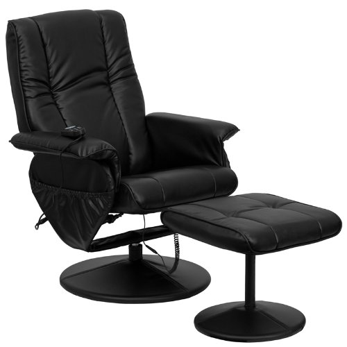 (Flash Furniture Massaging Black Leather Recliner and Ottoman with Leather Wrapped Base)