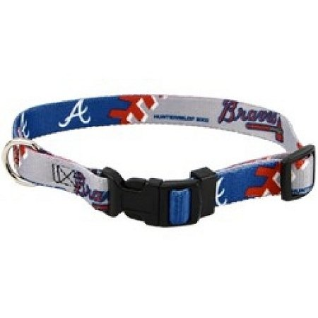 Hunter Mfg Atlanta Braves Adjustable Dog / Pet Training Collar - Medium