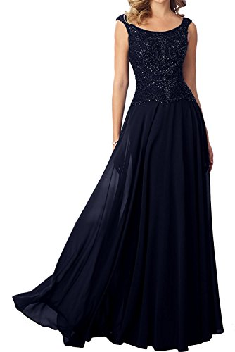 Marie Rosa La Promkleider Abendkleider Brautmutterkleider Navy Braut Blau Lang Perlen Dunkel Damen Hundkragen xTpqpdft