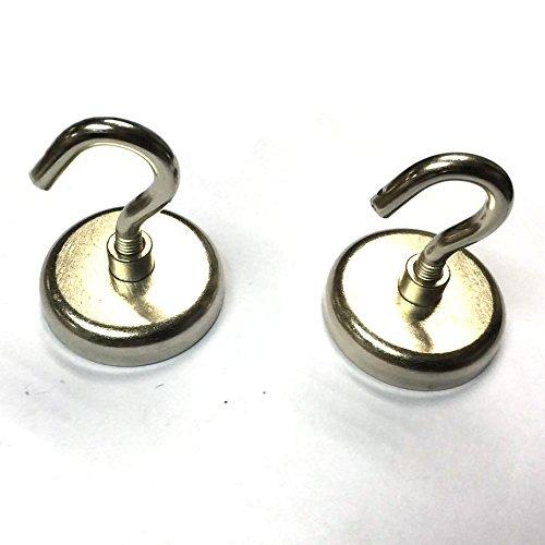 (SUNKEE (2-pack) Magnetic Hook,150 Pound Strong Neodymium Magnet Hooks, Ultra Heavy Duty Magnetic Hook,1.65