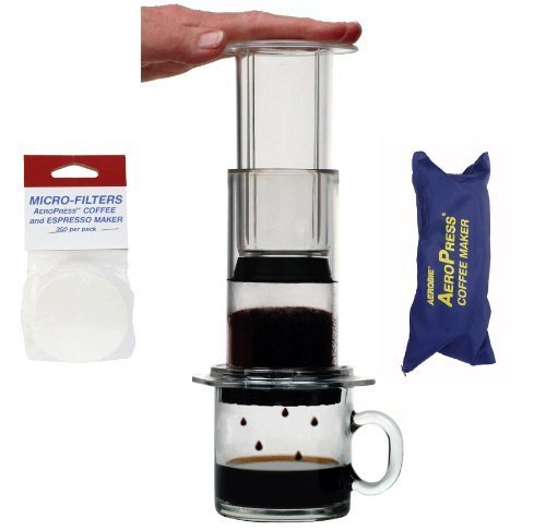 Aerobie-AeroPress-Coffee-Maker-with-nylon-tote-and-2-sets-of-replacement-filters