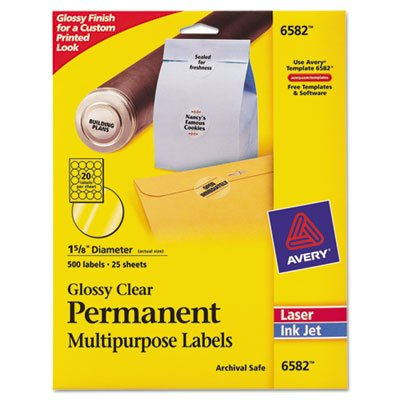 Permanent Clear Round ID Labels for Laser/Inkjet Printers, 1-2/3