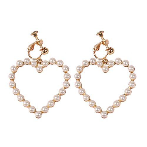 (Screw Back Clip on Heart Earrings Dangle Simulated Pearl Gold Plated for Girls)