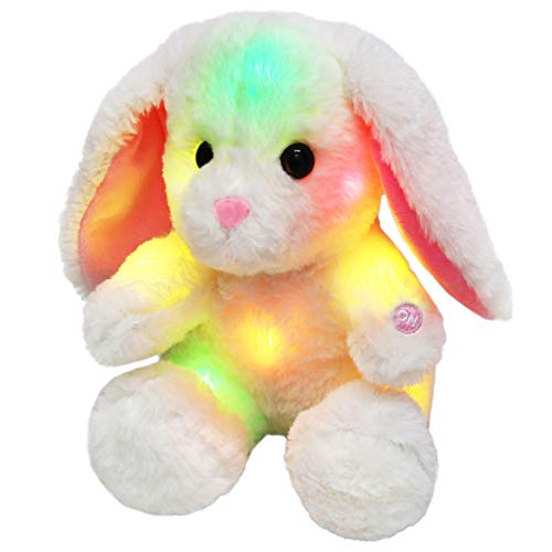 (Bstaofy Glow White Easter Bunny LED Rabbit Lop Ear Night Light Stuffed Animals Soft Plush Toys Birthday Gift for Kids Toddlers, 8 inch)
