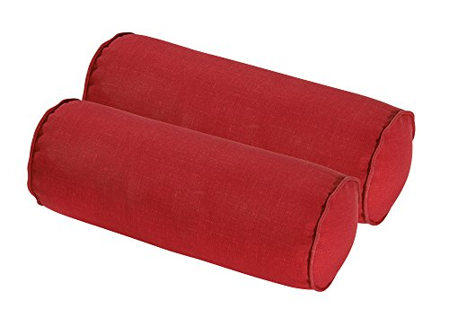 Bossima Indoor/Outdoor Rust Red Round Bolster Pillow, Corded Cushion Set of 2 by Bossima