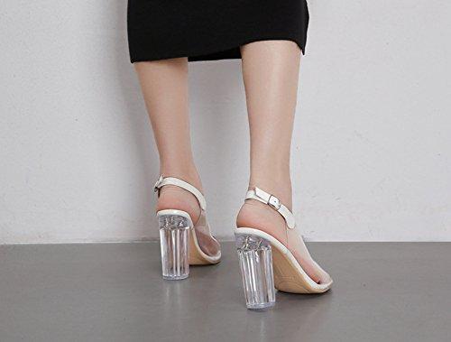 Blockabsatz Zehen Kunststoff Transparent Aisun Weiß Damen mit Schnalle Slingback Sandale Offene IXgAwPwn