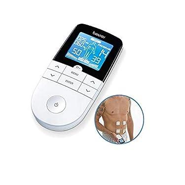 Beurer-EM49-Electroestimulador-digital-para-aliviar-el-dolor-muscular-y-el-fortalecimiento-muscular-masaje-EMS-TENS-pantalla-LCD-azul-2-Canales-4-electrodos-autoadhesivos-color-blanco