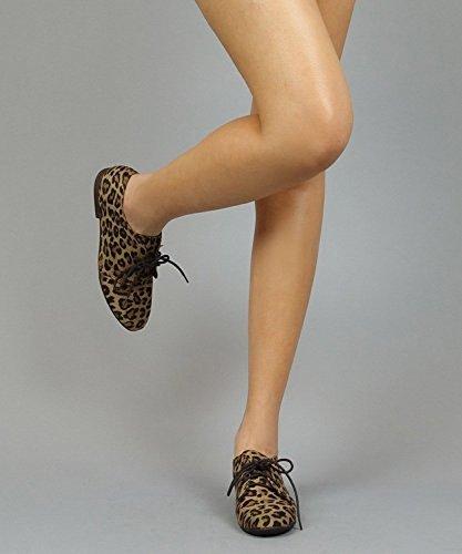 Sandy Breckelle's Leopard up Vegan Oxford Suede Toe 31W Shoes Lace Round HwUrqTdwnC