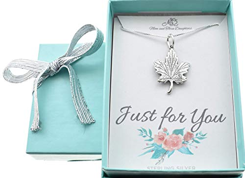 Girl's, teen's or woman's Maple leaf necklace in sterling silver on a 18