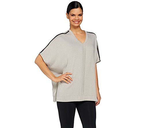 Lisa Rinna Collection V Neck Seam Poncho Faux Leather Trim Grey M New A273519