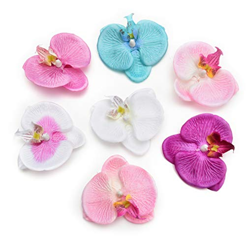 Fake Flower Heads in Bulk Wholesale for Crafts Artificial Flowers Silk Butterfly Orchid Head for Wedding Home Decoration DIY Party Festival Decor Flores Cymbidium Handmade 20pcs 8cm (Colorful) (Are Blossoms Plum Color What)