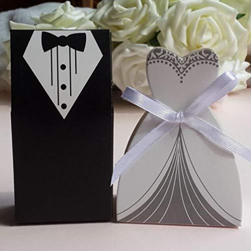 MEIZOKEN 50 Pcs/Set Wedding Gifts Case Bride&Groom Tuxedo Dress Gown Ribbon Wedding Favor Candy Box Wedding Party Decor