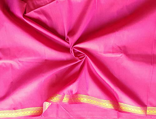 Cotton Silk Golden Border Fabric Plain Solid Colors Handloom Weaving Material DIY Crafts Sewing Quilting (Dark Rani, 3 Yards)