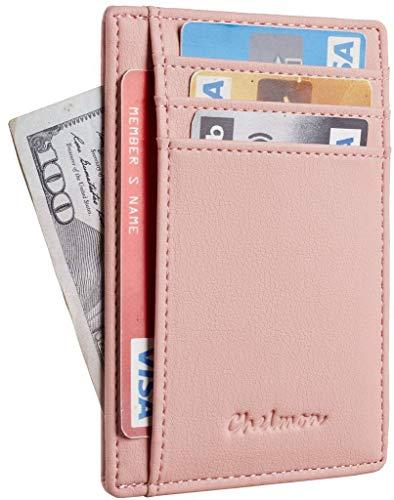 (Chelmon Slim Wallet RFID Front Pocket Wallet Minimalist Secure Thin Credit Card Holder (GeNapa Pink))