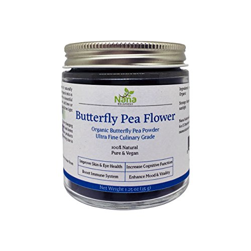 Blue Butterfly Pea Powder 100% Organic | Authentic Thai Origin, Premium Culinary Grade | Caffeine-free Natural Energy & Focus Booster Anti-oxidant for Beverages, Smoothies, Baked Goods (Butterfly Green Tea)