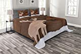 Lunarable Moose Bedspread Set Queen Size, Timber Elk Figure in Different Tones Romantic Noel Time Romance Joy Vintage Style, Decorative Quilted 3 Piece Coverlet Set with 2 Pillow Shams, Brown and Tan