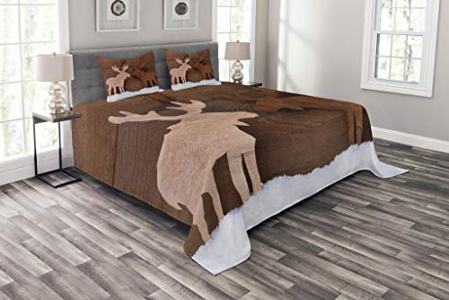 Lunarable Moose Bedspread Set Queen Size, Timber Elk Figure in Different Tones Romantic Noel Time Romance Joy Vintage Style, Decorative Quilted 3 Piece Coverlet Set with 2 Pillow Shams, Brown and Tan by Lunarable