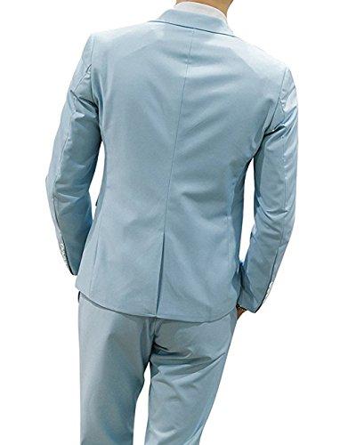 Di Fit Vestito Leggero Solido Slim 3 Nozze Mens Yffushi Colore Blu Pezzo RqfwpA