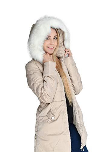 7668c02f745 valuker Women's Down Coat with Fur Hood 90D Parka Puffer Jacket 57-Beige-M