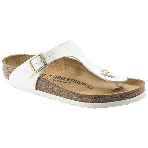 (Birkenstock Unisex Gizeh Birko-Flor White Sandals 7 W / 5 M US)