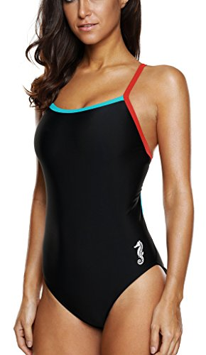 Swimsuit Athletic One Piece Swimsuits Bathing Suit One Piece Swimwear for Women Black - Sport Bathing Suit