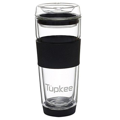 Tupkee Double Wall Glass Tumbler - Insulated Tea/Coffee Mug & Lid, Hand Blown Glass, 14-Ounce, (Glass Plastic Mug)